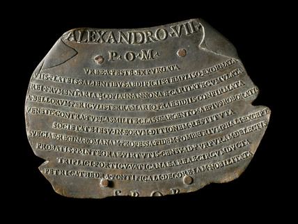 Bronze plaque to celebrate the extinction of the plague in Rome, 1655-1667.
