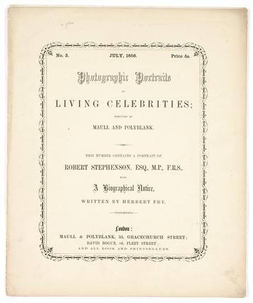 'Photographic Portraits of Living Celebrities', 1856.
