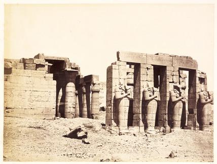 'Rhameseum facade, Thebes', c 1880.