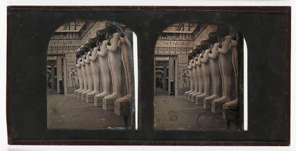 Stereo-daguerreotype of Osiris statues in the Crystal Palace, Sydenham, c 1855.