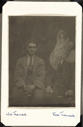 Joe and Will Thomas and their grandmother's 'spirit', c 1920.