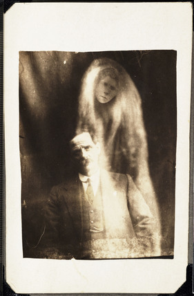 Man with 'spirit' of his deceased second wife, 1923.
