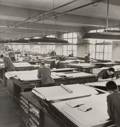Workers in the drawing office at the Derby works, January 1951.