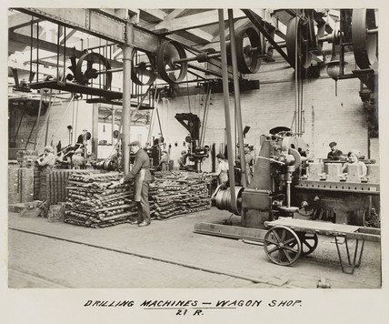 Workers using drilling machines, South Yorkshire, c 1916.
