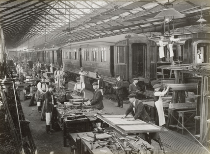 Coach repairing at Doncaster works, South Yorkshire, c 1916.