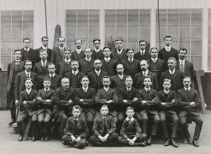 Office staff at Doncaster works, South Yorkshire, c 1916.