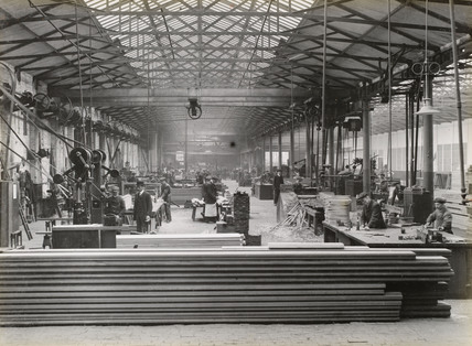 Sawmill at Doncaster works, South Yorkshire, c 1916.