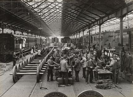 Carriage repair shop, South Yorkshire, c 1916.