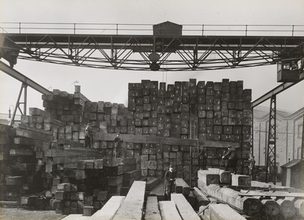 Timber at Doncaster works, South Yorkshire, c 1916.