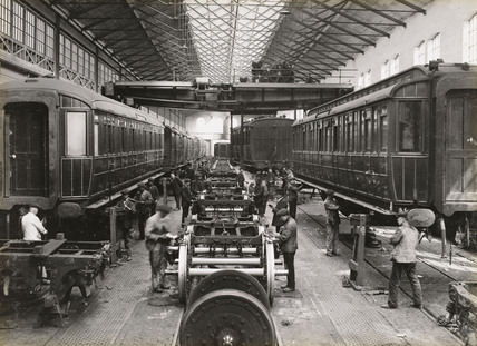 Bogie repairs at Doncaster works, South Yorkshire, c 1916.