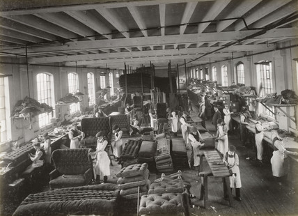 Manufacture of carriage seats, South Yorkshire, c 1916.