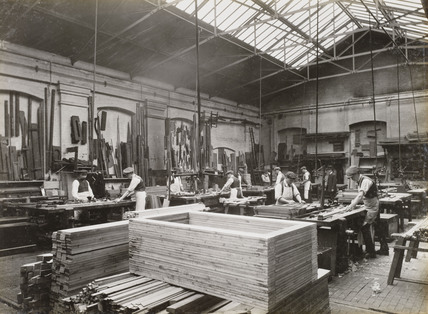 Timber workshop at Doncaster works, South Yorkshire, c 1916.