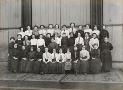 Women workers outside Doncaster works, South Yorkshire, c 1905.