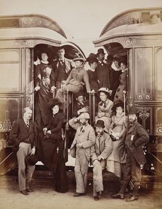 Pullman train passengers, 1876.