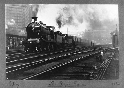 The royal train leaving Princes Street Station, Edinburgh, 13 July 1914.