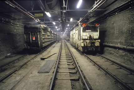Spoil train in the Channel Tunnel, 1993.