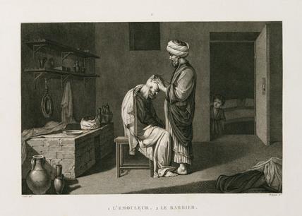 Barber and customer, Egypt, c 1798.