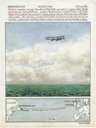 Alcock and Brown's non-stop Trans-Atlantic Mail flight, 14 June 1919.