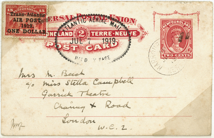 Early airmail postcard, 1919.
