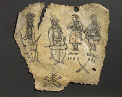 Human skin, tattooed with figures, probably French, 1867.