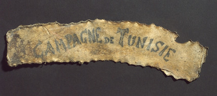 Human skin with tattooed inscription, French, 1860-1890.