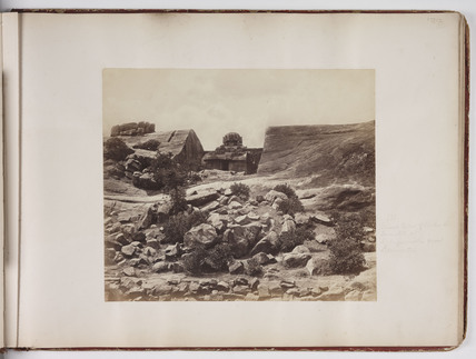 General view of rocks and monolith, c 1865.