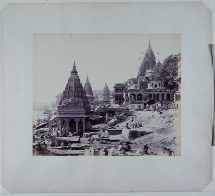 Benares Monkey Temple on the edge of the Ganges, c 1864.
