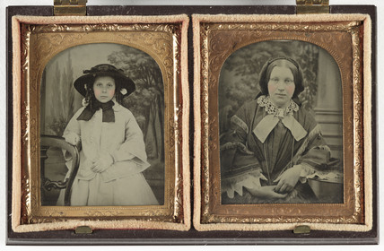 Portraits of a young girl and a woman, c 1860.
