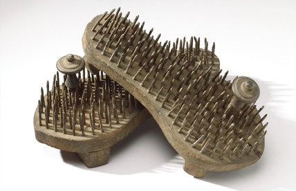 Spiked fakir's sandals, Indian, 1871-1920.