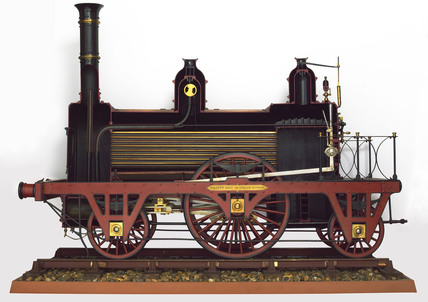 Sectioned railway locomotive, 1840-1845.