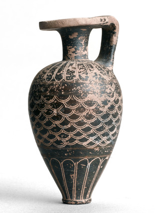 Decorated pottery vessel, European, c 700-680 BC.