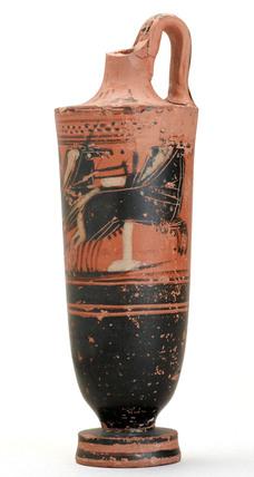 Red pottery jug, Greek, 480-470 BC.