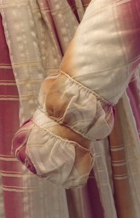 Plaid wool dress, British, c 1845.