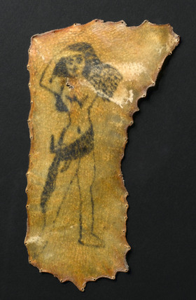 Tattoo of a naked woman on human skin, French, 1880 to 1920?