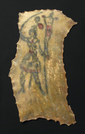 Human skin tattooed with an armed female figure, French, 1850-1900.
