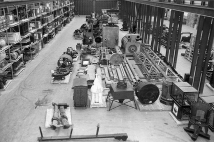 View of bays at the Science Museum's Hayes Store, Middlesex, 1972.