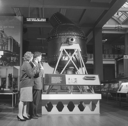 Visitors using telesonic lorgnettes, Science Museum, London, 1961.