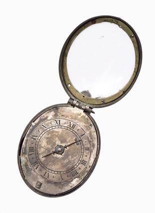 Oval silver 'Puritan' watch, c 1650.