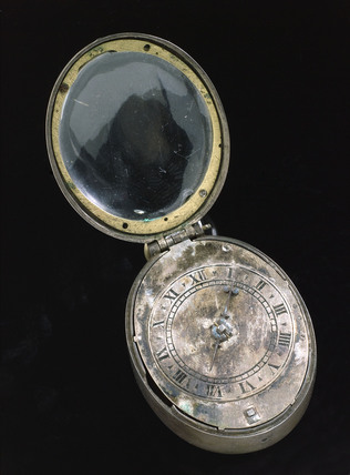 Oval silver 'Puritan' watch, c 1650.