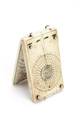 Ivory diptych sundial, German, c 1628.