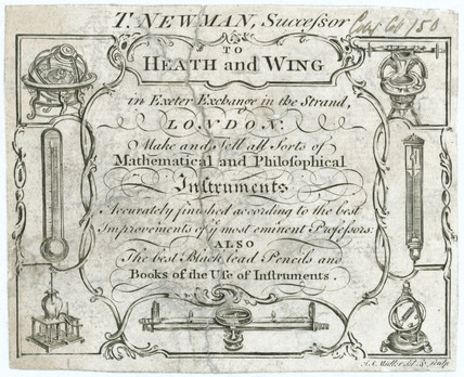 Trade card for mathematical instrument makers, 18th century.
