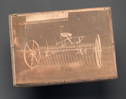 Printing plate showing Huxtable's expandable rake, c 1877-1950.