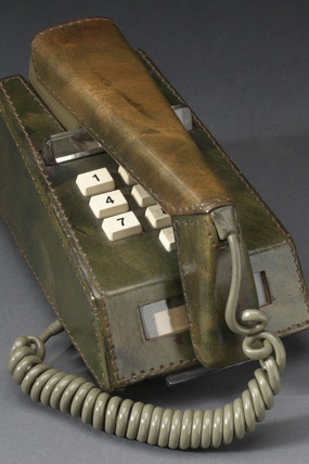 Trimphone with green leather cover, 1975-1980.