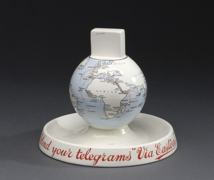 Eastern Telegraph Company ashtray and matchbox holder, c 1920.