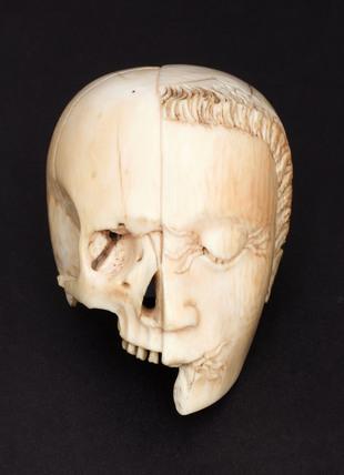 Ivory model of a head, half face and half skull.