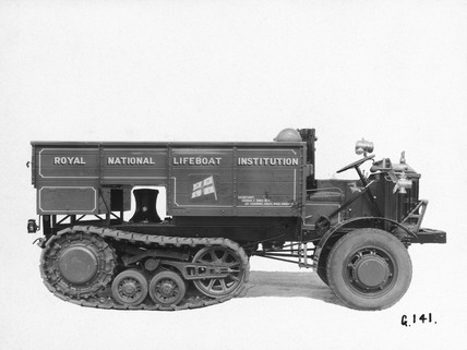 RNLI chain-track tractor with front-wheel drive, 1929.