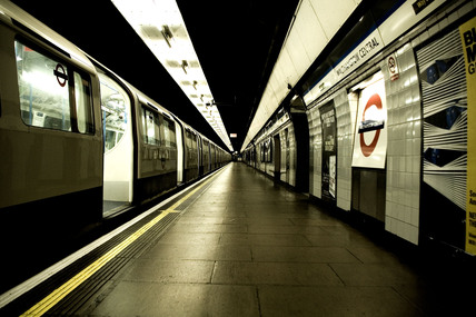 Walthamstow tube station platform, 2005.