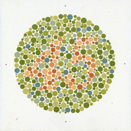 An Ishihara Chart for testing colour-blindness, c 1959.