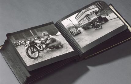 Photograph album of James motorbikes, 1940s.