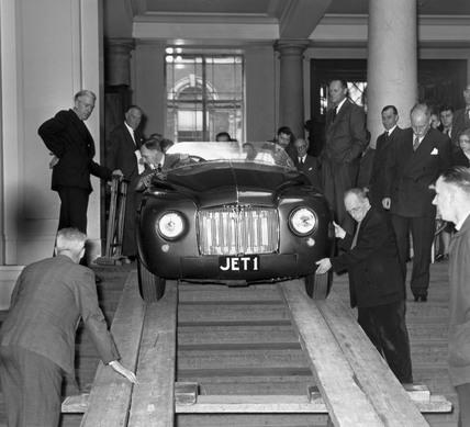 Presentation of JET 1, the world's first gas-turbine car, 1958.